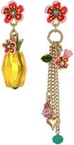 Betsey Johnson Pineapple Multi Charm Mismatch Drop Earrings Earring