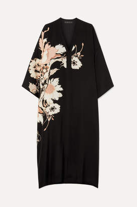 Etro Floral-print Silk Crepe De Chine Midi Dress - Black