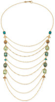 Carolee Gold-Tone Crystal Draped Chain Statement Necklace