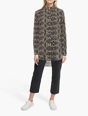 French Connection Snake Print Collarless Shirt, Neutral