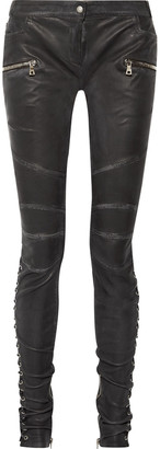 Balmain Lace-up Leather Skinny Pants