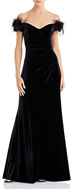 Eliza J Off-the-Shoulder Velvet Faux-Feather Detail Gown