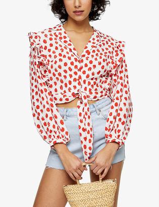 Topshop Frilled polka-dot print woven top