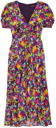 Saloni Lea Floral-print Silk Crepe De Chine Dress