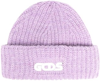 GCDS Rib-Knit Beanie Hat
