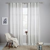west elm Striped Ikat Curtain - Platinum