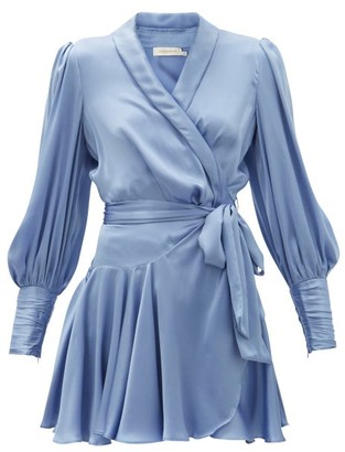 Zimmermann Belted Silk Wrap Mini Dress - Light Blue