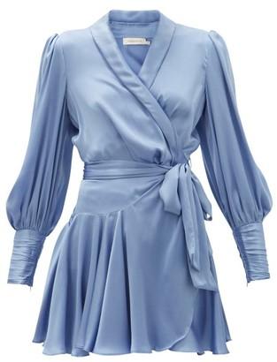 Zimmermann Belted Silk Wrap Mini Dress - Light Blue