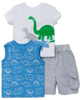 Little Me Baby Boys Baby Boys Dinosaur Tee, Tank Top and Shorts Set