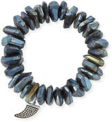 Sydney Evan Irregular Labradorite Beaded Bracelet with Diamond Horn Charm