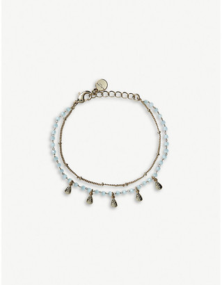 The White Company Beaded double-chain gold-plated bracelet
