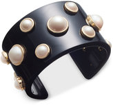 Charter Club Gold-Tone Imitation Pearl Jet Resin Cuff Bracelet, Only at Macy's