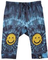 Molo Sabble Tie-Dye Soft Pants w/ Smiley Face Knees, Size 6-24 Months