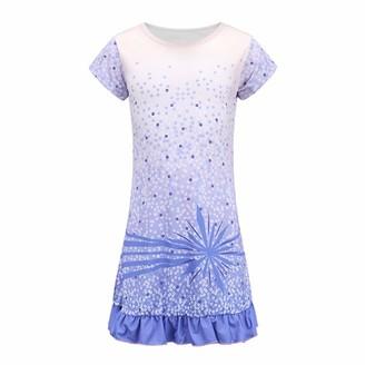 Gyratedream Girls Silk Sleepwear & Nightgown Flutter Sleeve Nightdress Pajamas Dress Sleep Shirts Child Sleeping Outfit 3-10 Years Purple