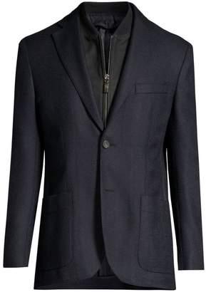 Corneliani ID Leather-Trim Cashmere Jacket