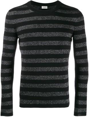Saint Laurent Striped Glitter Knitted Top