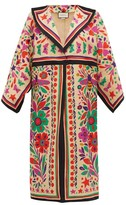 Gucci Paradise-print Linen-blend Kimono-style Coat - Womens - Beige Multi
