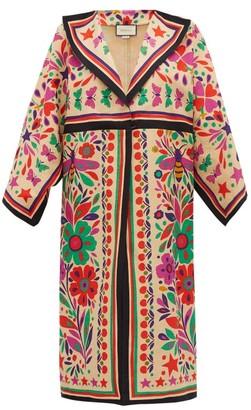 Gucci Paradise-print Linen-blend Kimono-style Coat - Beige Multi