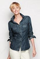 Lands' End Women's Petite Long Sleeve Denim Shirt-Midnight Blue Stripe
