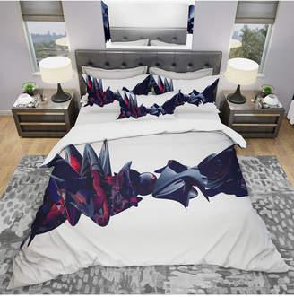 Designart 'Nice To Meet You' Modern and Contemporary Duvet Cover Set - King Bedding