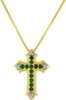JCPenney FINE JEWELRY Lab-Created Emerald and White Sapphire Cross Pendant Necklace