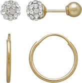 FINE JEWELRY Infinite Gold Kids 14K Yellow Gold Crystal-Accent Ball Stud and Hoop 2-pr. Earring Set
