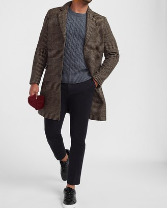 Express Brown Houndstooth Plaid Wool-Blend Topcoat
