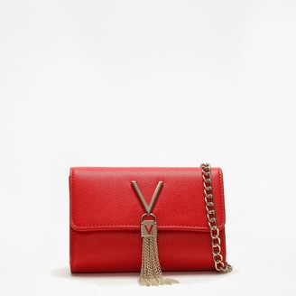 Valentino By Mario Valentino Divina Red Pebbled Shoulder Bag