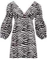 STAUD Keshi Zebra-print Cotton-blend Mini Dress - Womens - Black White
