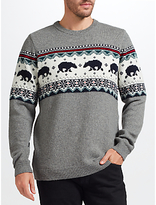 John Lewis Christmas Polar Bear Jumper, Grey