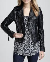 Joie Ailey Crocodile-Embossed Leather Jacket