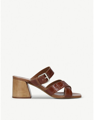 Carvela Kolumn croc-embossed leather heeled mules