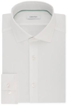 Calvin Klein Men's Steel Slim-Fit Non-Iron Performance Stretch Spread Collar White Dress Shirt