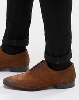 Asos Oxford Brogue Shoes in Tan Suede With Contrast Sole