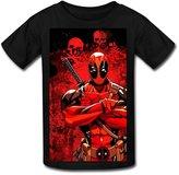 YC Big Boys' Deadpool Tour T Shirt For Kids Black M