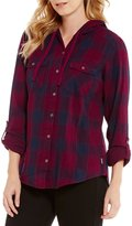 Columbia Times Two Point Collar Hooded Long Sleeve Roll Tab Plaid Shirt