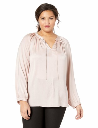 Lucky Brand Women's Plus Size Pleated Peasant TOP
