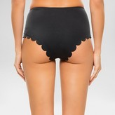 Vanilla Beach Women's Scalloped High Waist Bikini Bottom Onyx