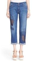 Stella McCartney 'Tomboy' Embroidered Overlay Cutout Jeans