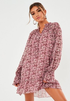 Missguided Floral Print Tie Neck Double Layer Smock Dress