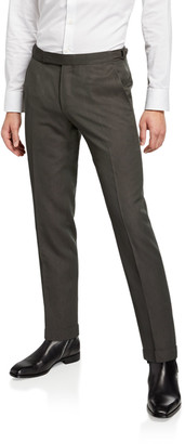 Ermenegildo Zegna Men's Wool-Blend Flat-Front Pants