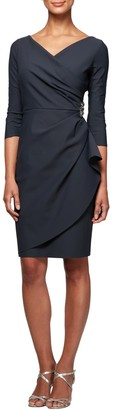 Alex Evenings Embellished Ruched Sheath Dress (Regular, Petite & Plus Size)