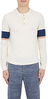 Solid & Striped MEN'S STRIPED-SLEEVE HENLEY-IVORY SIZE XS