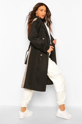 boohoo Tall Utility Luxe Contrast Check Print Trench Coat