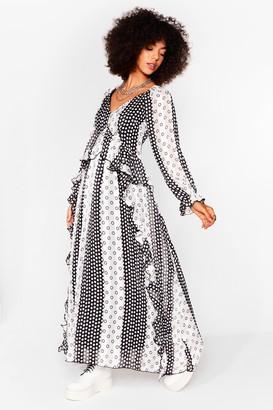 Nasty Gal Womens Dot on Our Heels Polka Dot Maxi Dress - Black - 6, Black