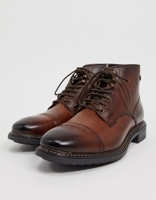 Base London conrad toe cap boots in brown leather