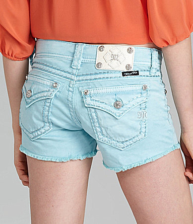 Miss Me Thick-Stitch Fray Shorts