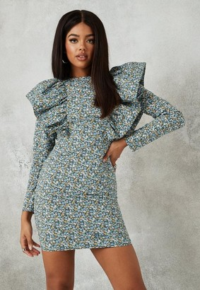 Missguided Blue Floral Ruffle Front Long Sleeve Mini Dress