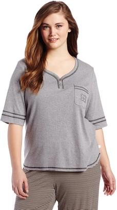 Karen Neuburger Women's Plus-Size Basic Henley Pajama Top