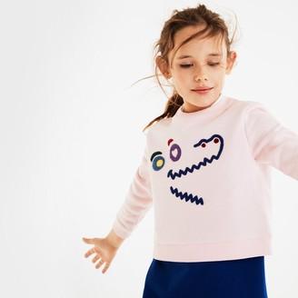 Lacoste Girls' Crewneck Crocodile Fleece Sweatshirt